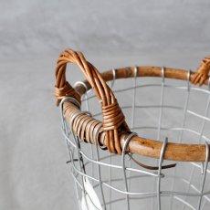 画像2: 【PUEBCO】RATTAN TOP WIRE BASKET ラタントップ ワイヤーバスケット Medium  (2)