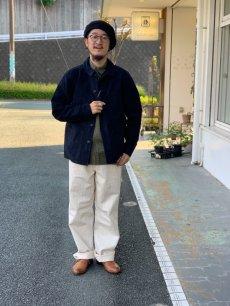 画像8: 【FOB FACTORY】フレンチ モルスキン ワークジャケット (ネイビー) (8)