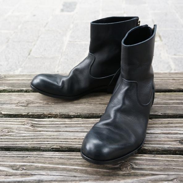 画像1: 【PADRONE/パドローネ】バックジップブーツ (ブラック) (1)