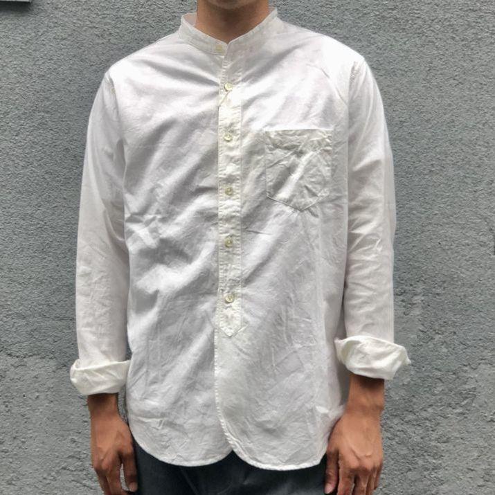 画像1: 【FOB FACTORY】オックスフォードバンドカラーシャツ (WHITE)  (1)