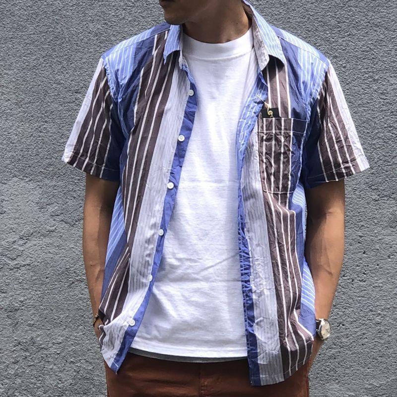 画像1: 【modemdesign/モデムデザイン】クレイジーパターンストライプ半袖シャツ(ブルー) (1)