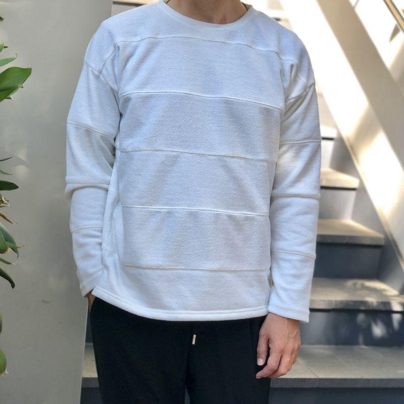 画像1: ベロア鹿の子切り替えボーダーTシャツ【3colors】 (1)