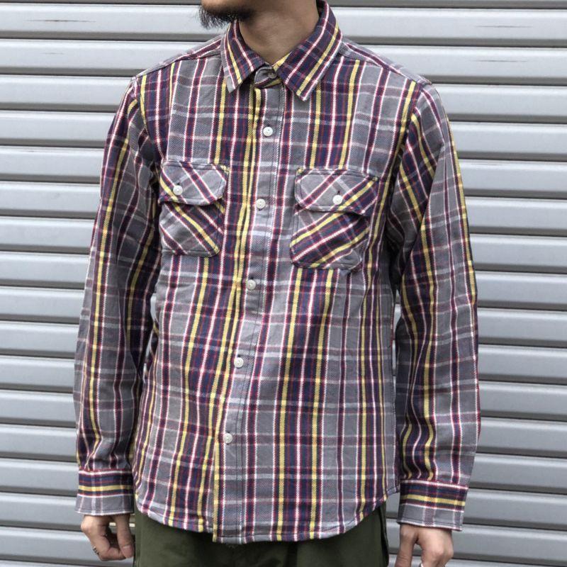 画像1: 【BIGMIKE/ビッグマイク】ヘビー フランネル ワークチェックシャツ(グレイ) (1)
