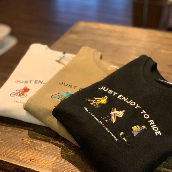 画像1: USAコットン刺繍「JUST ENJOY TO RIDE」スウェットシャツ【3colors】 (1)