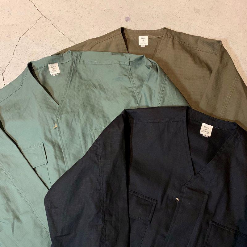 画像1: リップストップ ノーカラー ミリタリー シャツジャケット (3colors) (1)