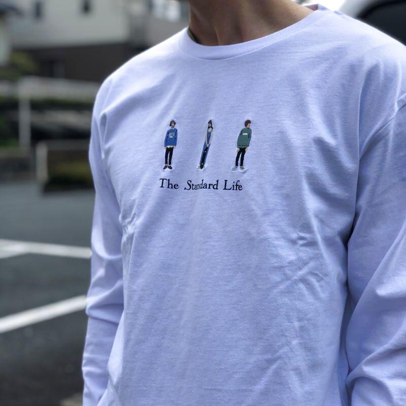 画像1: USAコットン刺繍長袖カットソー 「The standard life」(2color) (1)