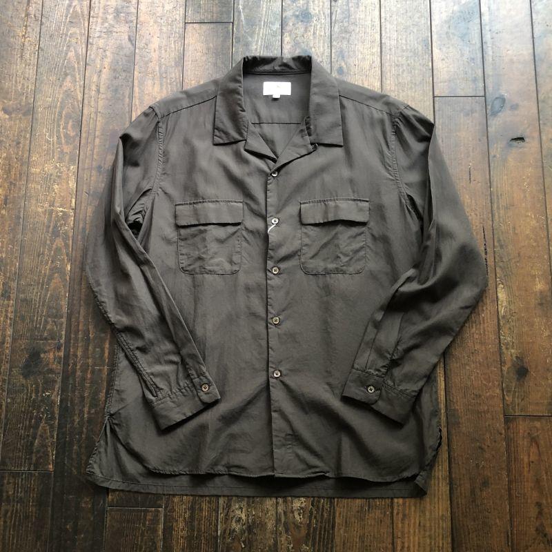 画像1: 【ManualAlphabet/マニュアルアルファベット】オープンカラーシャツ(ブラウン)  (1)