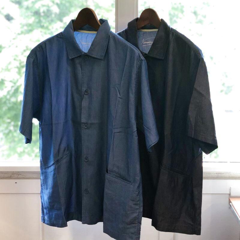 画像1: 【modem design/モデムデザイン】インディゴオープンカラーシャツ【2colors】 (1)