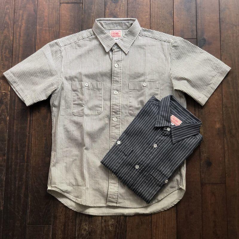 画像1: 【BIGMIKE/ビッグマイク】ヒッコリー ストライプ半袖 ワークシャツ(2colors) (1)
