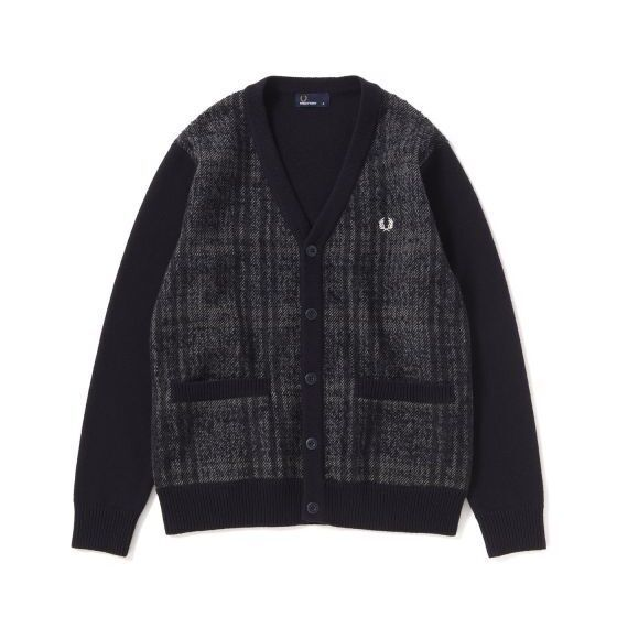 画像1: 【FRED PERRY/フレッドペリー】MIX PANEL CARDIGAN【 BLACK】 (1)