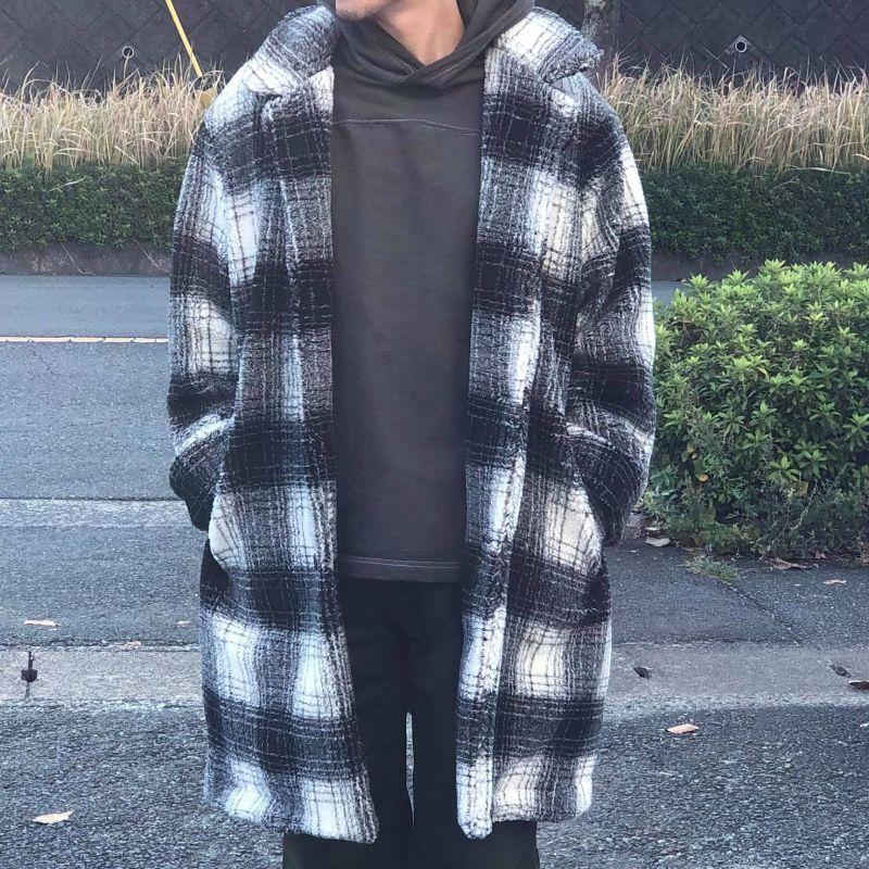 画像1: 【melple/メイプル】Naughty Over Coat(ホワイト×ブラック)   (1)