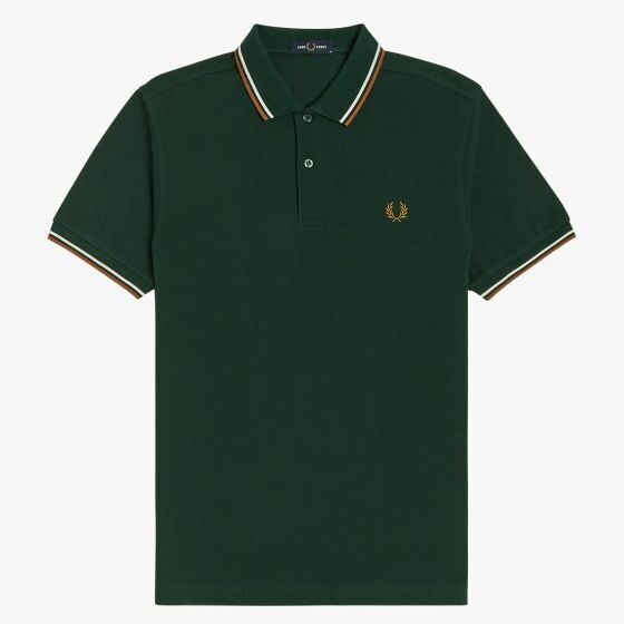 画像1: 【FRED PERRY/フレッドペリー】FRED PERRY SHIRT M3600 (M61: EVERGREEN/SNOW WHITE/DARK CARAMEL) (1)